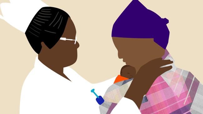 The neonatal nurse tucks baby Abebi against her mother for kangaroo care