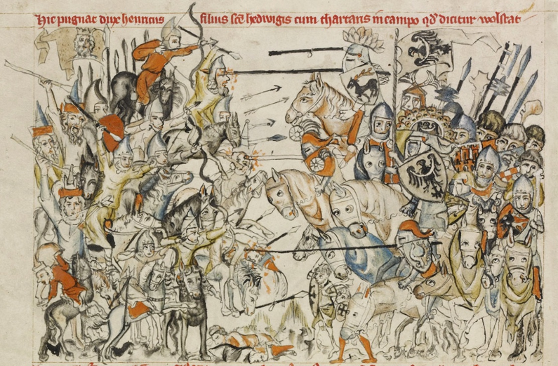 European knights fighting Mongol Cavalry