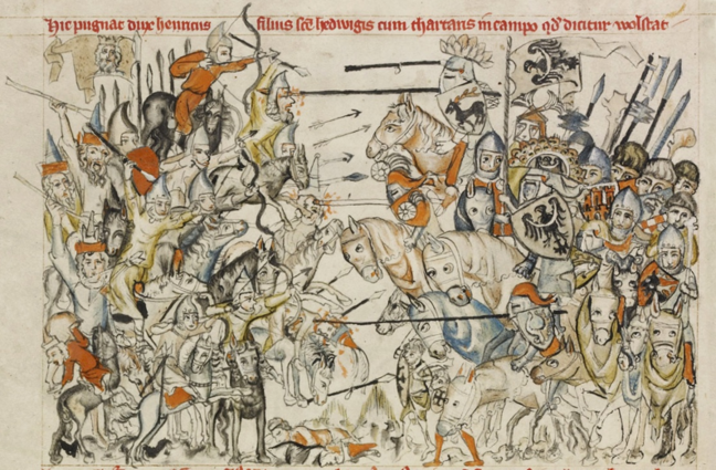European knights fighting Mongol Cavalry