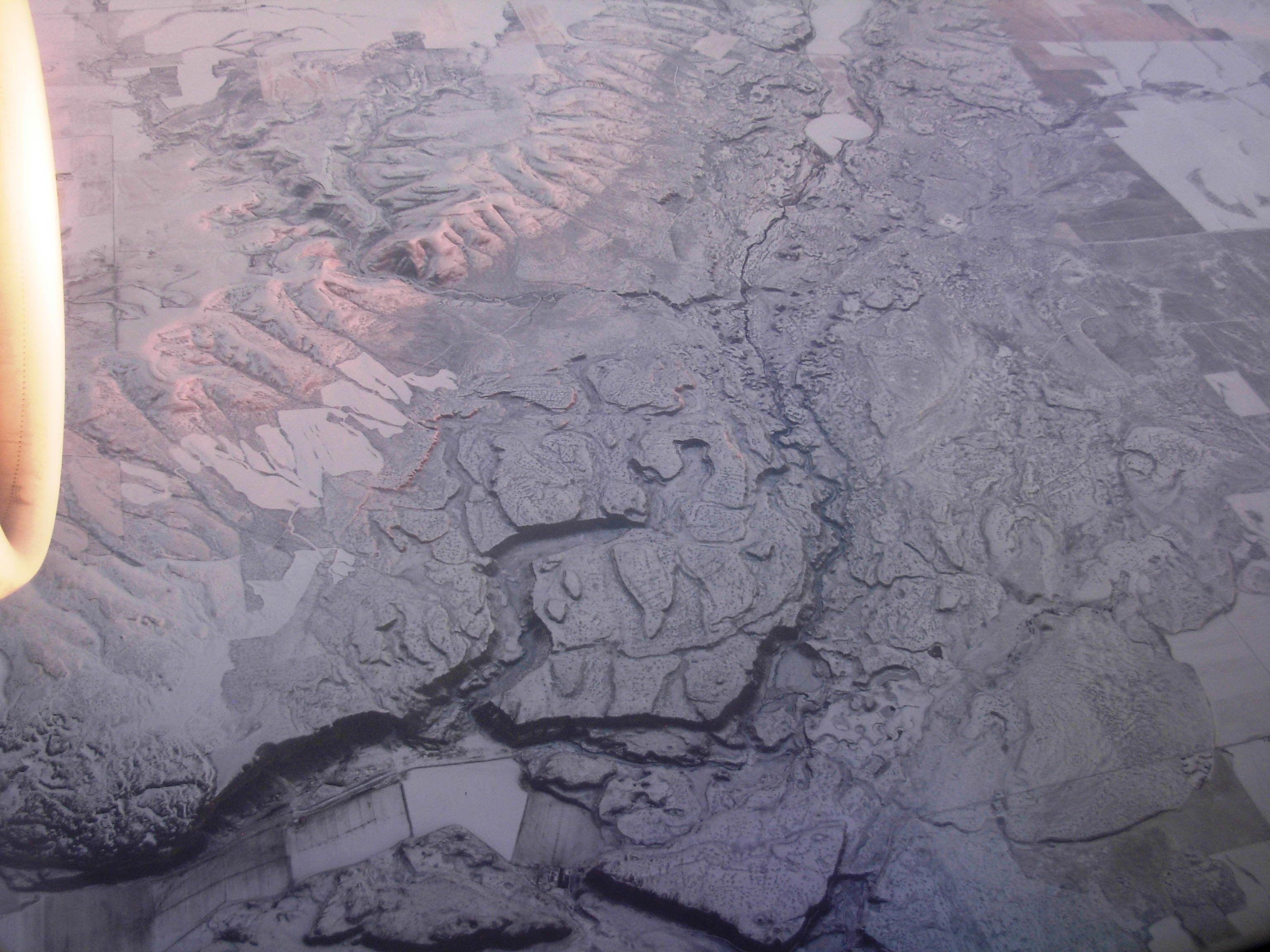 Aerial view of the area called Moses Coulee in part of the Channelled Scablands, showing collosal former river gorges.