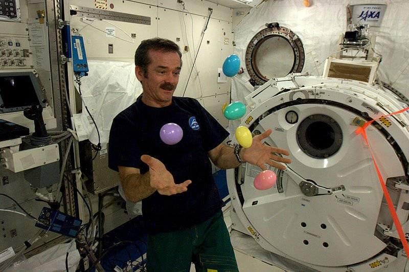 Photo taken on the space station showing astronaut 'juggling' easter eggs