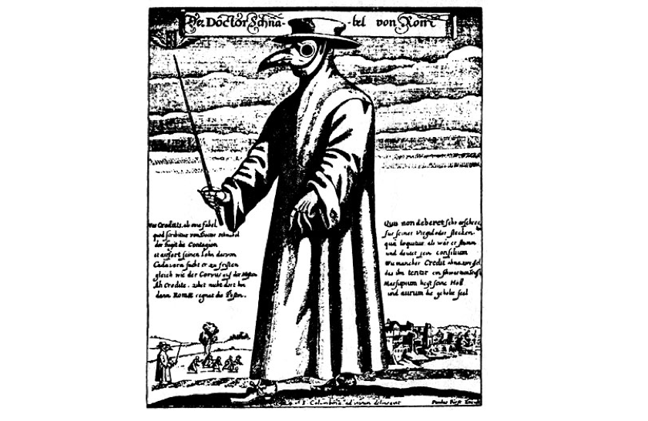 Drawing illustrating physician attire for protection consisting of hat, floor-length cloak and beak shaped mask. The figure is also carrying a stick