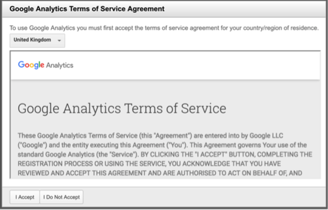 Googles terms of service