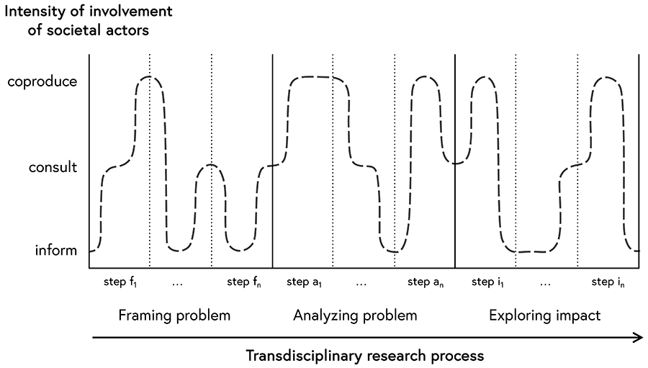 Diagram depicting the transdisciplinary research process, showing an example of interaction sequence. It shows the intensity with which societal actors are involved in the transdisciplinary research process. The x-axis is labelled from bottom to top with 'inform', 'consult' and 'coproduce'. The y-axis shows the three phases of the transdisciplinary research process. From left to right: 'framing problem', 'analysing problem' and 'exploring impact'. A dotted curve, starting on the left-hand side on the level of 'inform' rises to consult, then to coproduce and back to inform. The wiggly line is just an example illustrating that in each sub-step of a phase and depending of the action of 'inform', 'consult' or 'coproduce' the involvement of the societal actors changes according to their role.