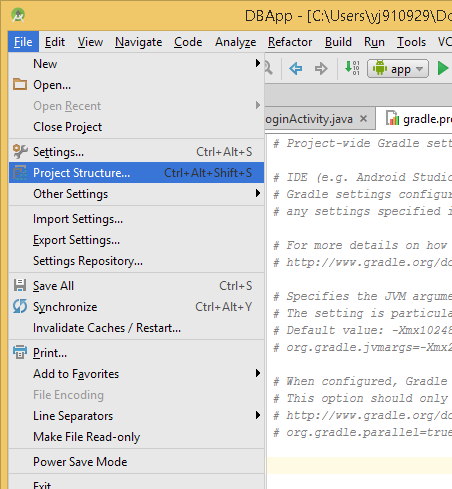 File menu with Project Structure Dialogue Highlighted