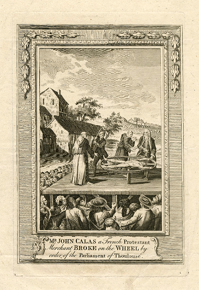 An image of Mr. John Calas a French Protestant merchant broke on the wheel by order of the Parliament of Thoulouse. ART File C143 no.1 (size M) © LUNA: Folger Digital Image Collection