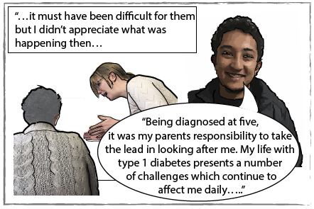 "Carlos as an adult saying ""being diagnosed at five, It was my parents responsibility to take the lead in looking after me. My life with type 1 diabetes presents a number of cahllenages which continue to affect me daily."" The image is captioned: it must have been difficult for them but I didn't appreciate what was happening then."