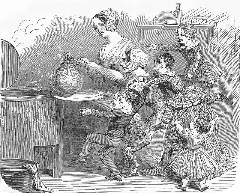 Black and white illustration of 2 woman putting a Christmas Pudding wrapped in cloth into a vat with 4 children looking on