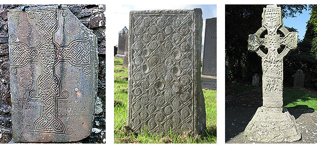 figures 6-8, the Grave slab at Tullylease, a decorated structural stone from Lemonaghan, Co. Offaly, and the 'Tower cross' from Kells, respectively