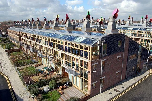 Photo showing BedZed sustainable housing including solar panels on the roof