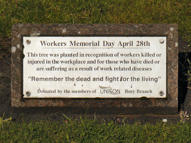 "The plaque under ""The Workers' Tree"", Whitehead Gardens, near Manchester, UK, reads: This tree was planted in recognition of workers killed or injured in the workplace and for those who have died or are suffering as a result of work-related diseases. ""Remember the dead and fight for the living"" Donated by members of the UNISON Bury Branch"