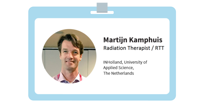 "Martijn's i.d. It reads: ""Martijn Kamphuis, Radiation Therapist, INHolland, Univeristy of Applied Science, The Netherlands"""