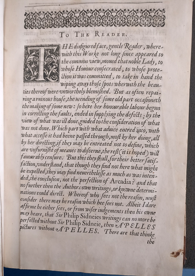 Hugh Sandford's letter 'To The Reader', from Philip Sidney, *The Countesse of Pembroke's Arcadia. Written by Sir Philip Sidney Knight