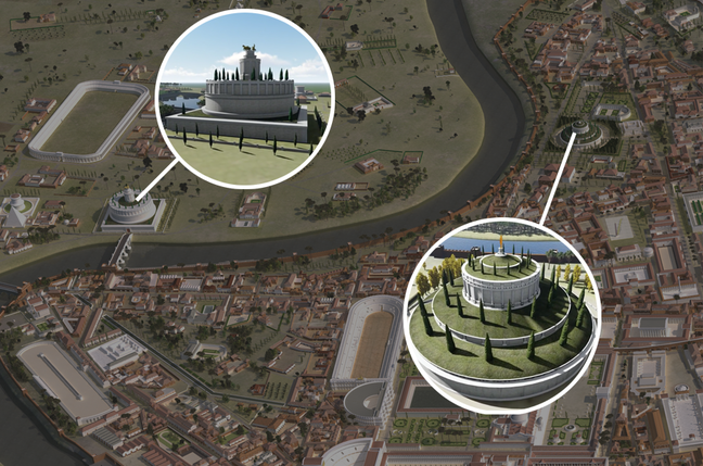 A digital recreation of Hadrian's and Augustus' tombs. Both are circular and located next to the river on either side of a river