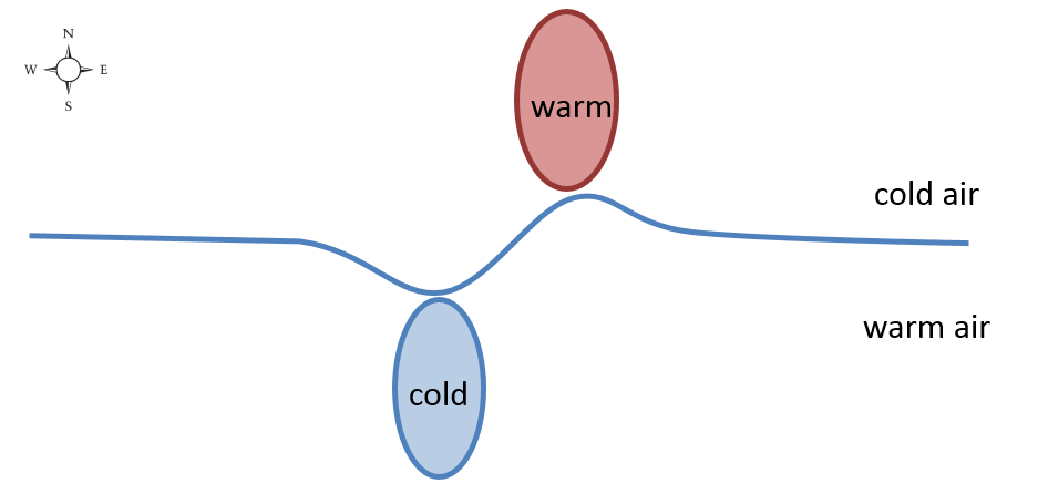 A horizontal line that now has a slight wave. The U shapes have broken off and developed into ovals Underneath the line there is a blue oval with cold written inside, and above the line there is a red oval with warm written inside.