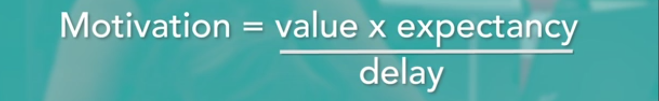 Motivation = (value x expectancy) / delay