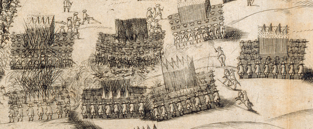 Detail of the battle plan by Fitz-Payne Fisher