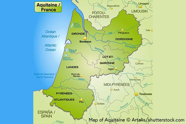 Map of Aquitaine © Artalis/Shutterstock.com