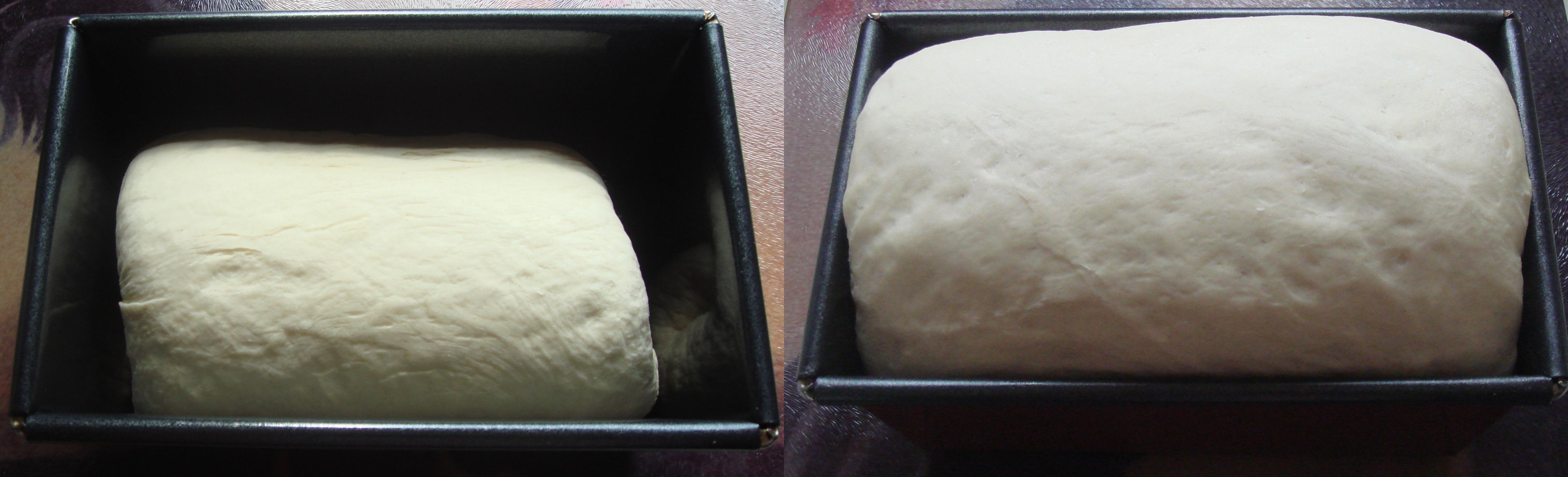 two images of bread, one risen and ready to be baked
