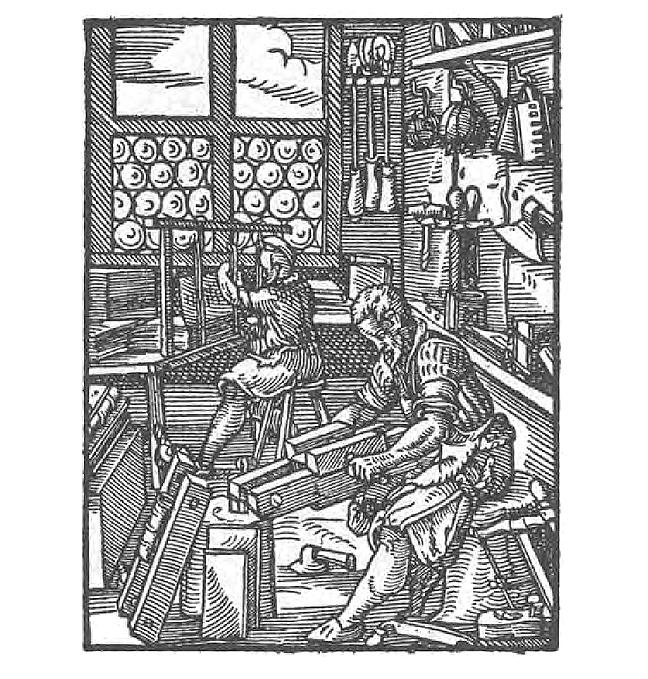 A black and white image of a Bookbinder in Jost Amman, *Das Ständebuch* (Frankfurt am Main, 1568).