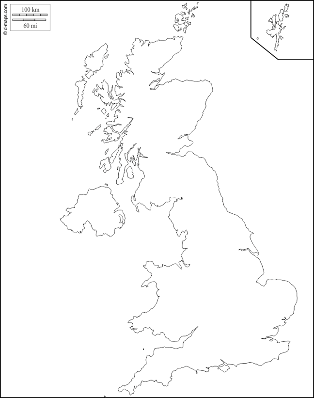Blank map of UK