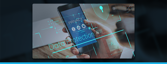 image of mobile device with data protection graphic
