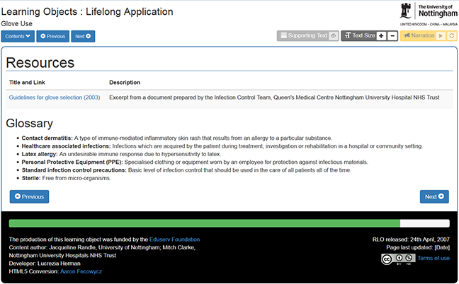 Screen shot of RLO extra links and resources