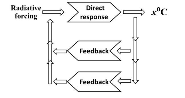 Feedback diagrams for radiative forcing with the direct response and multiple feedbacks.