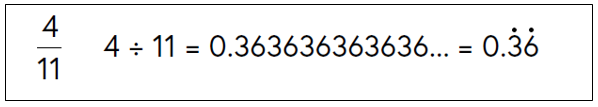 Four elevenths expressed as 0.36 recurring (dots over three and six)