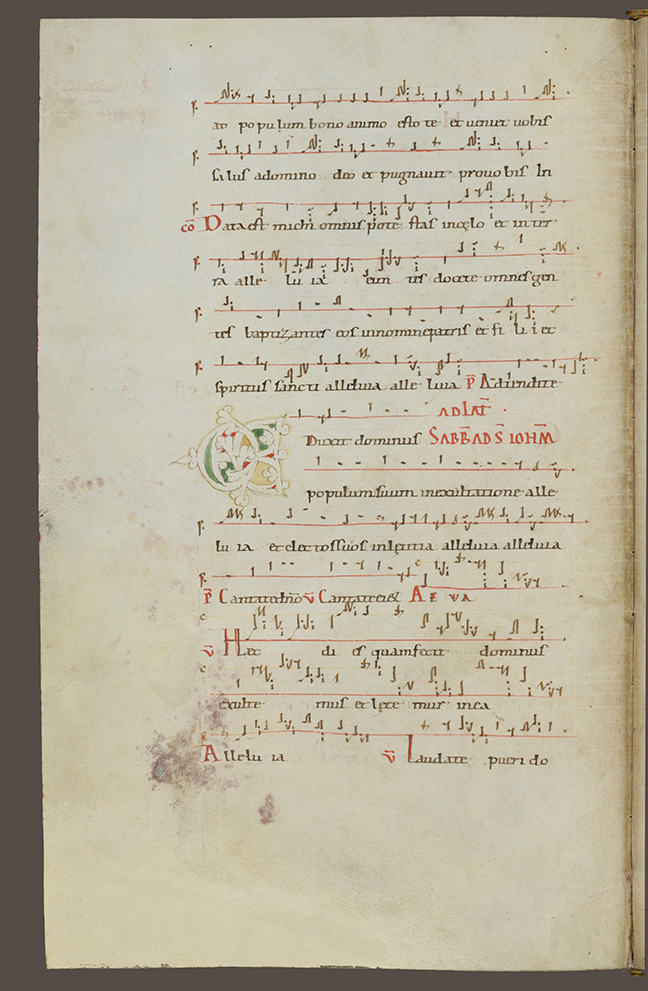 Roman manuscript from the eleventh century with two colored lines