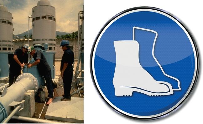 A man with no shoes, and working at an industrial site.He should have seen the mandatory sign telling him to use safety shoes.