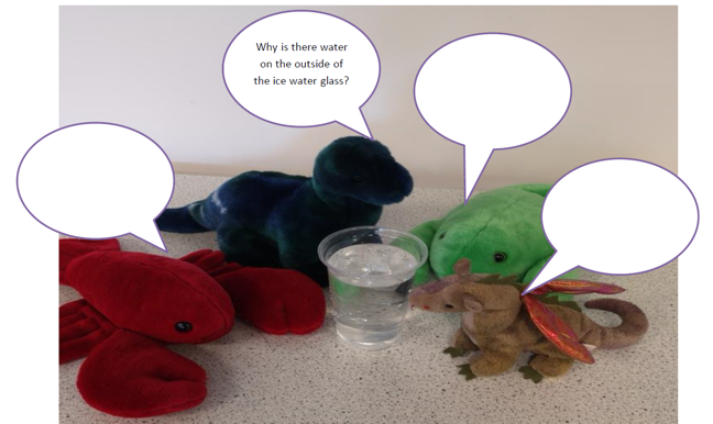A photo of four soft toys around a glass of water. One soft toy asks a question: why is there water on the outside of the ice water glass? Three toys have blank speech bubbles above them.