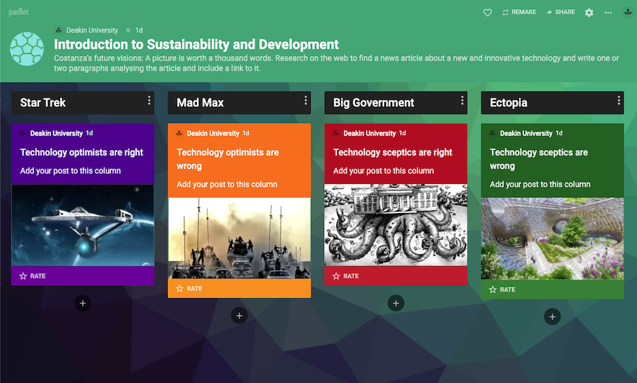 Decorative placeholder image of the Padlet containing each of the themed padlets
