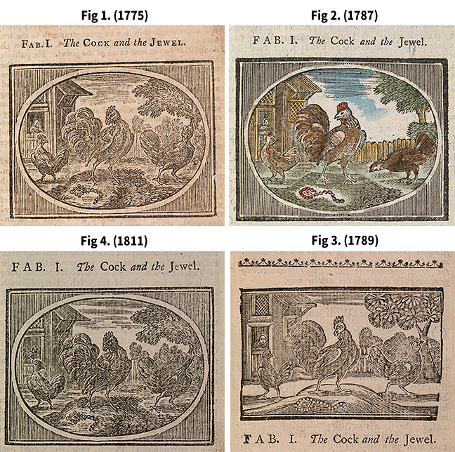 Four images from four versions of Aesops Fabels