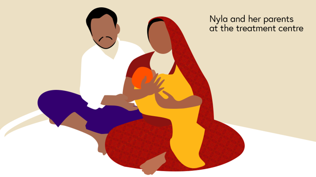 Illustration of baby Nyla and her parents at the treatment centre a few weeks after she was born
