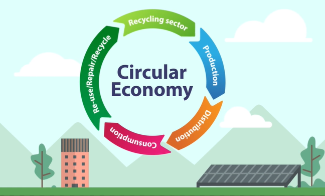 Infographic showing 5 different coloured interconnecting arrows in a circle labelled: Production, Distribution, Consumption, Re-use/Repair/Recycle, Recycling sector.