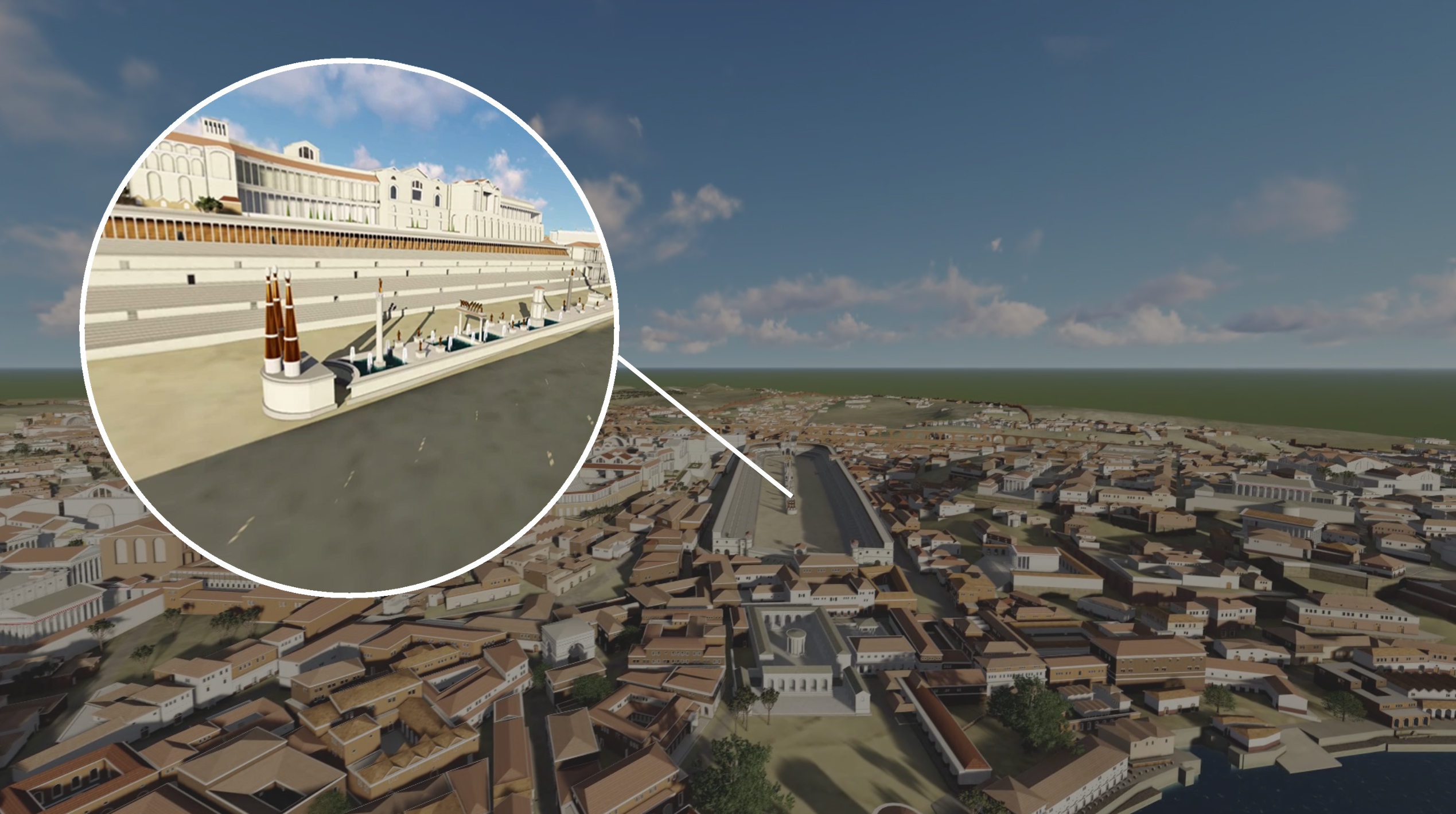 A 3D model of Rome highlighting where the Circus Maximus is located