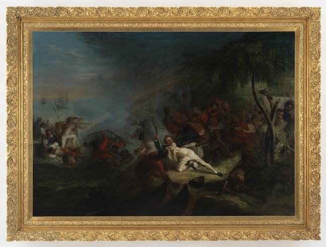 In this painting the figure of Cook is highlighted, fallen on the beach and being pulled at by Indigenous figures to the right, while also highlighted on the left just off shore is a crew member standing in small boat aiming musket