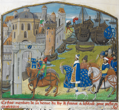 The King of France with his army (arriving at Sluys). © British Library Board. From 'Recueil des croniques d'Engleterre' by Jean of Wavrin (c.1480). Made available under the Creative Commons CC0 1.0 Universal Public Domain Dedication