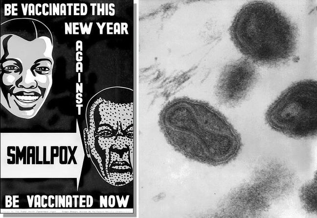 Left, smallpox poster. Right, image of the smallpox virus