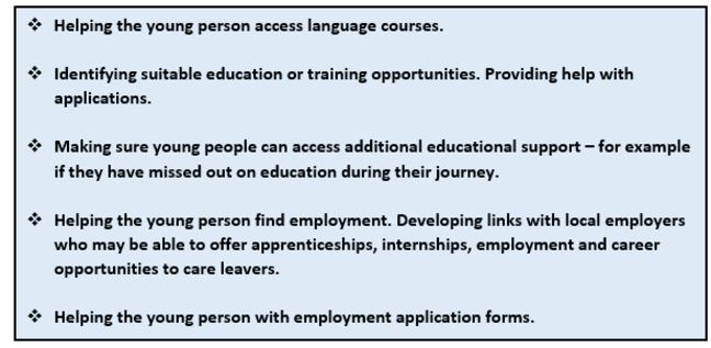 Learning and Work: this graphic is a list of points. 1 Helping the young person access language courses. 2 Identifying suitable education or training opportunities. Providing help with applications. 3 Making sure young people can access additional educational support - for example if they have missed out on education during their journey. 4 Helping the young person find employment. Developing linnks with local employers who may be able to offer apprenticeships, internships, employment and career opportunities to care leavers. 5 Helping the young person with employment application forms