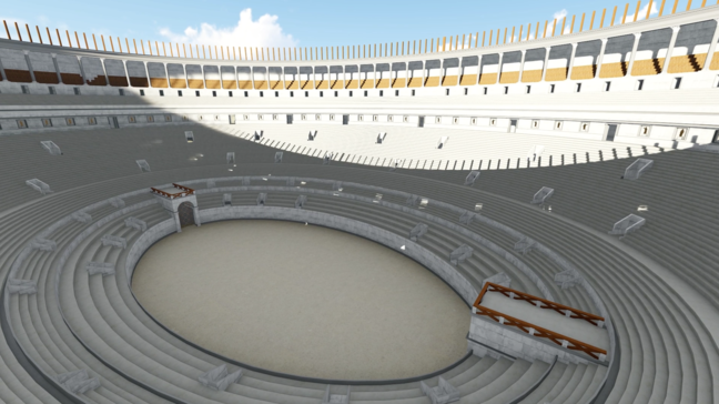 An aerial view of what the Colosseum may have looked like. An extremely large open air theatre