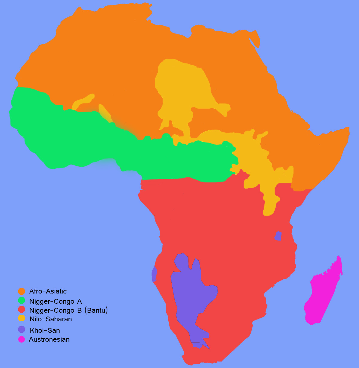 The figure shows a map of Africa with the distribution of Bantu languages. It is the most important linguistic family in Africa and encompasses most of Sub Saharan Africa except the region occupied by Khoisan (Kalahari desert) and th Nilo-Saharan family, South of Sahara, around the Nile river, along some part of the Sahel in the South of Sahara.