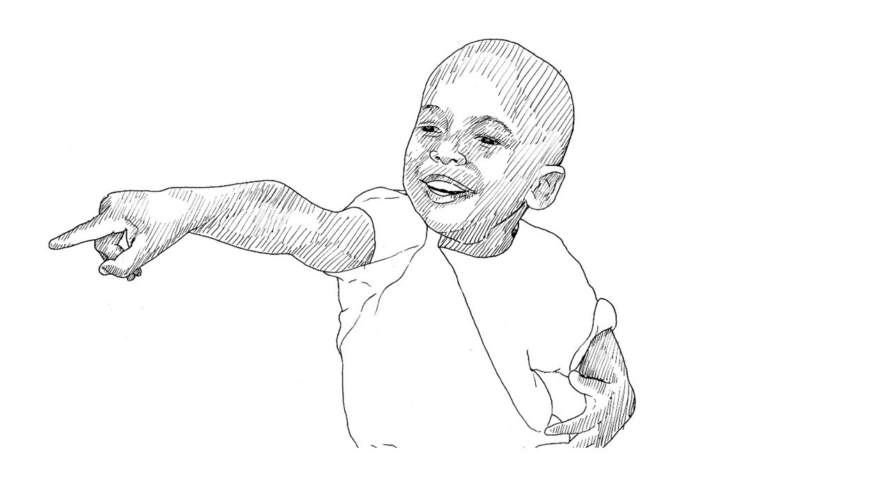 Illustration of a young boy pointing to something in the distance