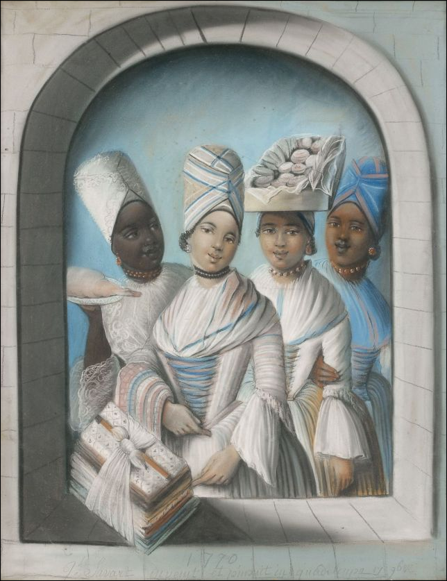 Pastel painting of four Creole women