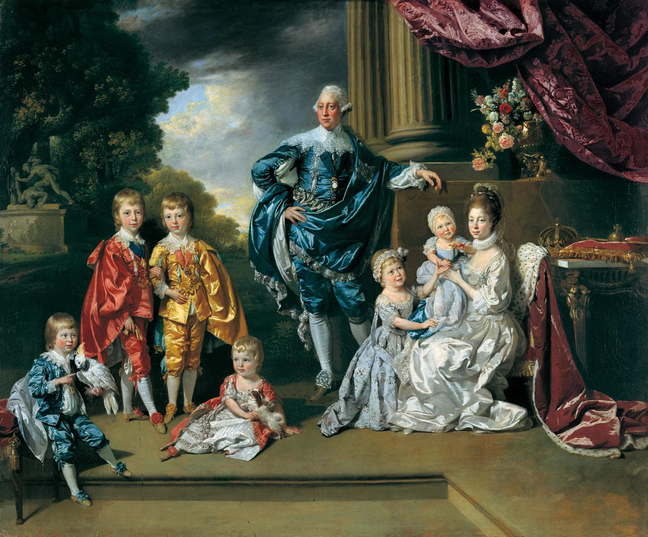 An oil painting of George III, Queen Charlotte and their six eldest children