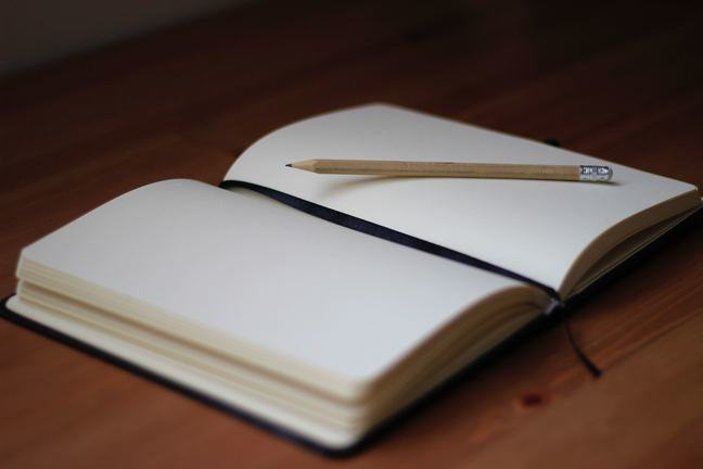 Blank journal open with a pen on