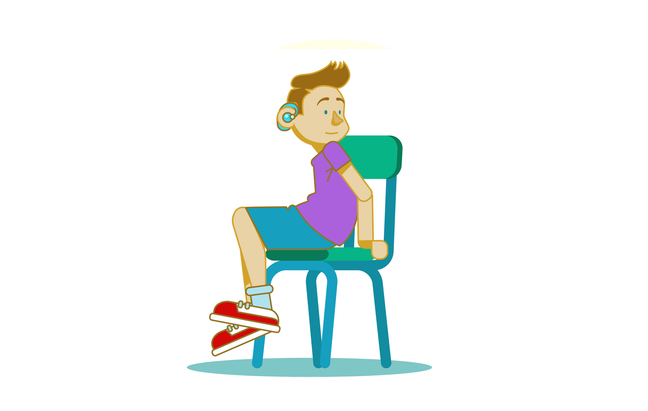 An illustration of a boy sitting on a wooden chair. He has a hearing aid. He is twisting in his seat to look behind him