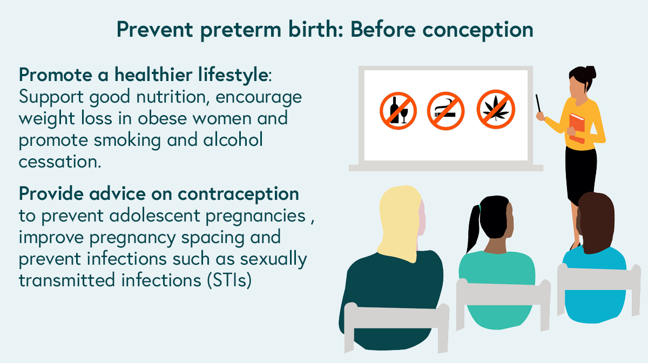 Illustration of a health education class plus a summary list of ways to prevent preterm birth before conception, as described above