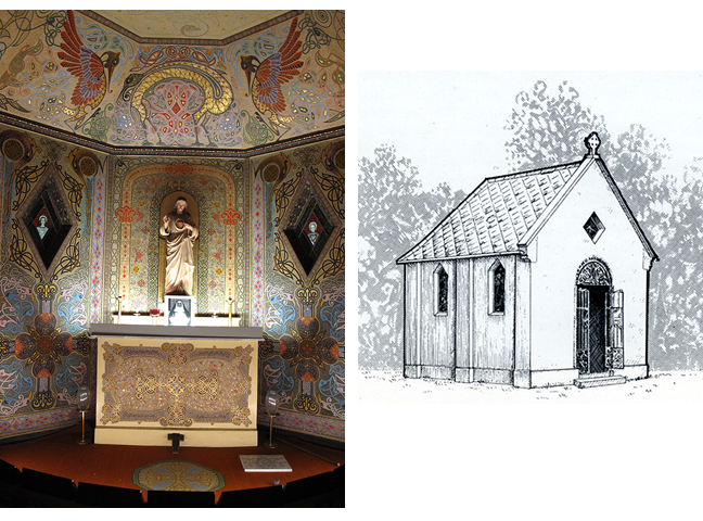 Figures 1 and 2. The high altar in the oratory and an artist's impression of its original exterior